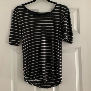 Gray and White Striped T-Shirt